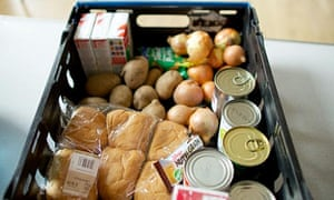 A crate of groceries at a food bank