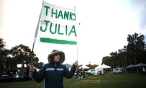 A Julia Gillard supporter on the lawns outside Parliament House. The Global Mail.