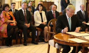 Kevin Rudd is sworn in as prime minister again in 2013.