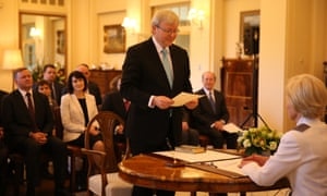 Kevin Rudd is sworn in by the Governor-General Her Excellency Quentin Bryce. The Global Mail.