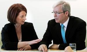 Rudd and Gillard in gentler times.