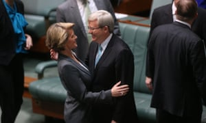 The Prime Minister Kevin Rudd is congratulated by the Opposition Deputy Leader Julie Bishop in the House of Representatives. The Global Mail.