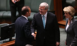 The Prime Minister Kevin Rudd is congratulated by the Opposition Leader Tony Abbott. The Global Mail.