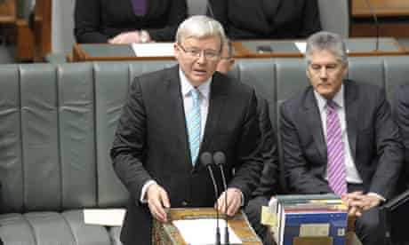 Kevin Rudd addresses the House of Representavies