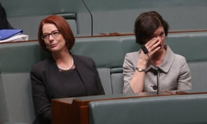 The former Prime Minister Julia Gillard in the chamber for the first time as a backbencher to listening  to Rob Oakeshott's valedictory speech.
