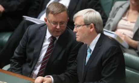 Prime Minister Kevin Rudd with deputy Anthony Albanese during Question Time in Parliament House. The Global Mail.