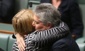The Minister for Defence Stephen Smith is congratulated by The Minister for Families and Community Services Jenny Macklin after he delivered his valedictory speech. The Global Mail.