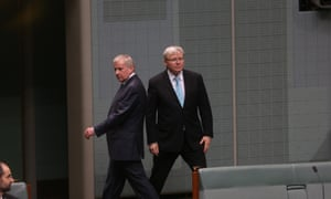 Prime Minister Kevin Rudd and Simon Crean leave the 43rd Parliament for the last time In Thursday 27th June 2013. The Global Mail.