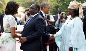 Senegal President Macky Sall his wife Marieme Faye Sall welcome President Barack Obama and Michelle Obama at the presidential palace in Dakar.