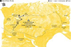 Tour de France climbs Alpe-d'Huez