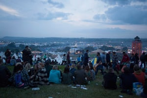 Glastonbury: Wednesday evening looking out over the festival site
