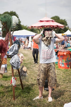 Glastonbury: A scarey mask stall by the Pyramid stage