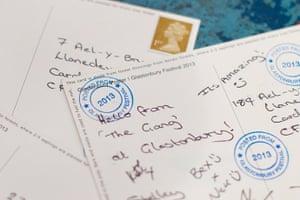 Glastonbury: Postcards written from the festival postal stall