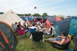 Glastonbury: Relaxing at the campsite