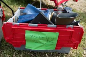 Glastonbury: Random wellies for sale