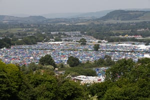Glastonbury: A view over part of the camp ground at Glastonbury