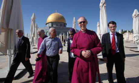 The archbishop of Canterbury tours Al-Aqsa mosque in Jerusalem
