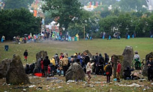 Revelers dance in the Stone Circle.