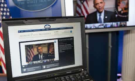 President Barack Obama participates in a Google Hangout.