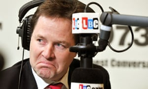 Nick Clegg during an LBC radio phone
