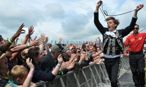 Pelle Almqvist of The Hives performs live on the Other stage.
