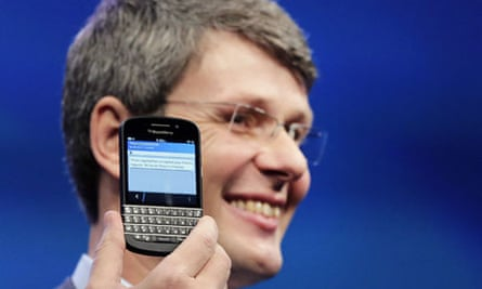 BlackBerry chief executive Thorsten Heins launches the Z10 phone