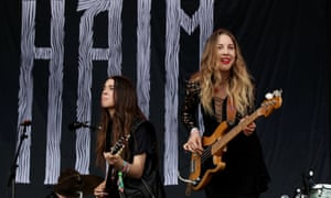 Sisters Danielle and Este Haim of Haim performing on the Pyramid Stage.