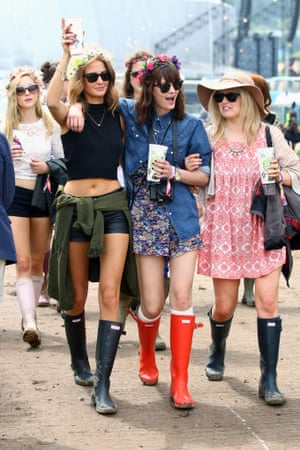 Hippy hippy chic: Millie Mackintosh and friends arrive.