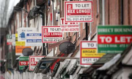 To Let signs along a street in Birmingham