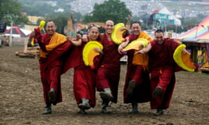The Gyuto Monks of Tibet pose for a snap ... The monks, who are signed to Decca Records, are taking a break from their tour in Australia with the Dalai Lama to perform at the festival's Green Fields.