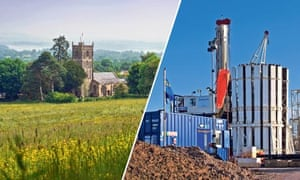 somerset village and fracking plant montage