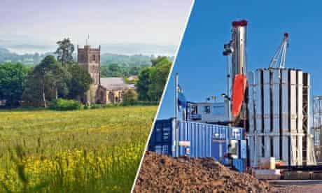 somerset village and fracking plant montage