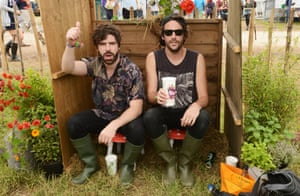 Yannis Philippakis (left) of Foals poses backstage.