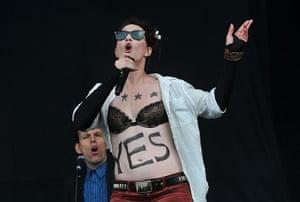 Glastonbury day one: Amanda Fucking Palmer on the Other stage.