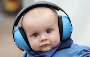 This lad is getting into music at an early age: though six-month old Henry Gilbert probably can't hear a peep through those ear defenders.
