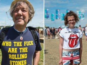 Glastonbury: people in Rolling Stones T-shirts
