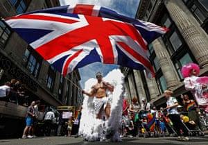 London Pride: A participant waves a union flag