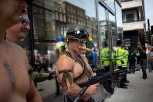 London Pride: Men wearing soldier costumes