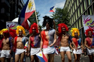 London Pride: Participants in the Pride parade hold Philippine flags
