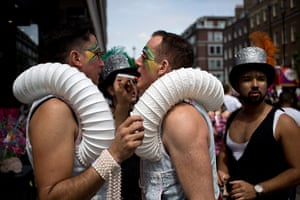 London Pride: Two men have their make-up done