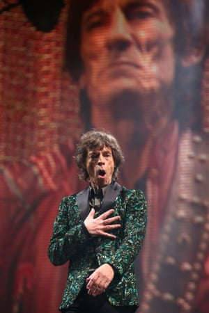 Mick Jagger performs on the Pyramid Stage.