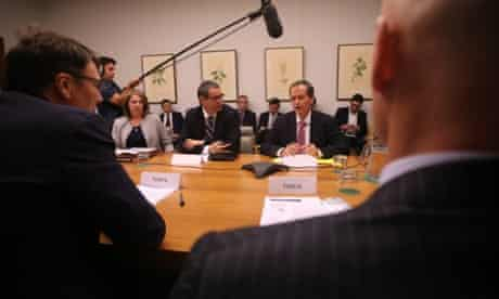 Workplace Relations Minister Bill Shorten and Communications Minister Stephen Conroy at a meeting with Telstra, NBN contractors, unions and asbestos campaigners. The Global Mail. Mike Bowers