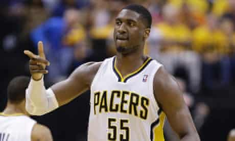 Indiana Pacers center Roy Hibbert reacts during the first half of Game 6 of the NBA Eastern Conference basketball finals against the Miami Heat in Indianapolis, Saturday, June 1, 2013. (AP Photo/Michael Conroy) Bankers Life Fieldhouse
