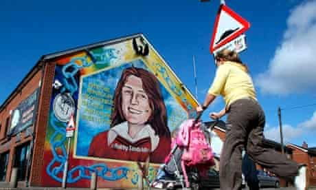 A mural dedicated to Bobby Sands on Falls Road, west Belfast.