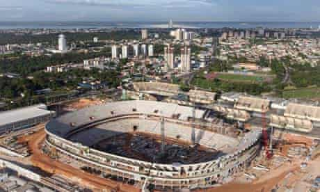Aerial view of the construction of the Amazonia Arena in Manaus