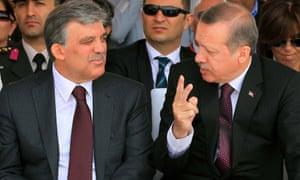 Turkish prime minister Recep Tayyip Erdogan talks to Turkish president Abdullah Gul during the opening ceremony of the third Bosphorus last week.