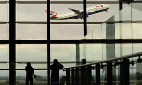 A British Airways passenger jet takes of at Heathrow airport
