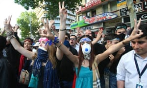 Turkish protesters shout anti-government