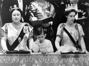 Queen's coronation 1953: The Queen Mother and Prince Charles with Princess Margaret
