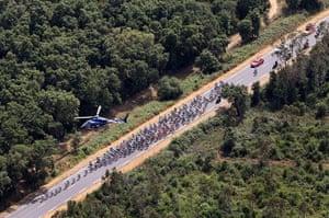 TDF: The peloton cuts through the Corsican countryside